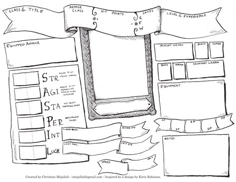 Hacks For Home Design Game The Earthlight Academy Hand Drawn Dcc Rpg Character Sheet