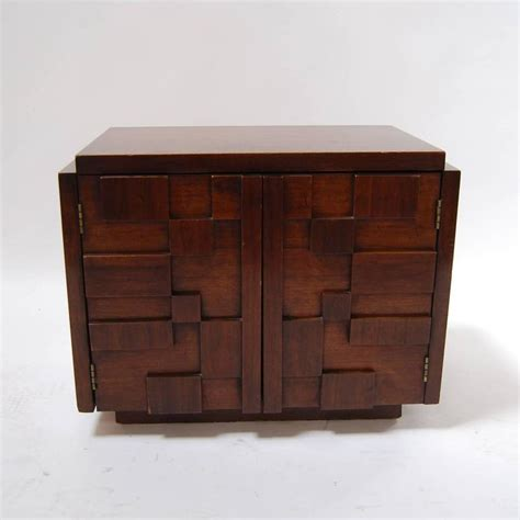 small night tables small brutalist nightstand by lane at 1stdibs