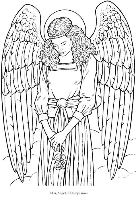 coloring pages for adults angels glorious angel 5 from dover publications http www