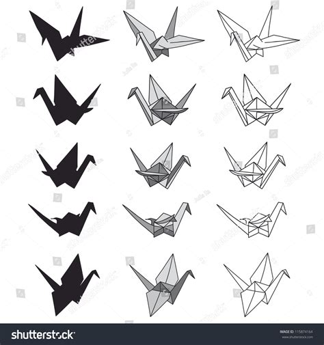 origami paper cranes set sketch seamless pattern black set paper cranes on white origami stock vector 115874164