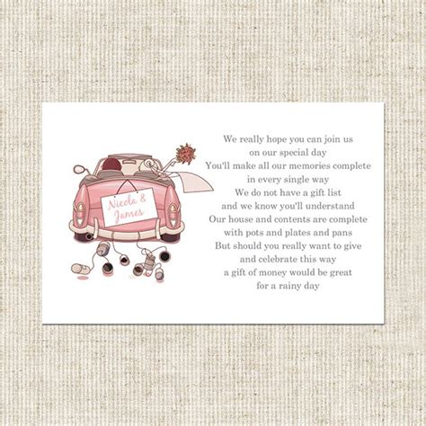 poems about gifts wedding car gift poem card wedding stationery