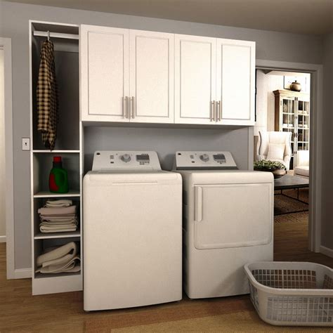 Laundry Room White Cabinets Modifi 75 In W White Tower Storage Laundry Cabinet Kit Enl75b Mpw The Home Depot
