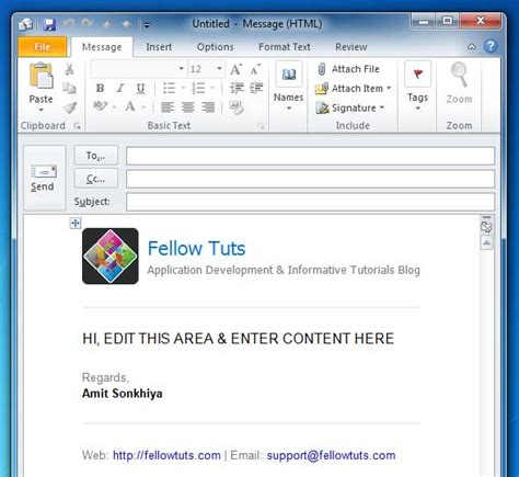outlook html email templates right way to add configure