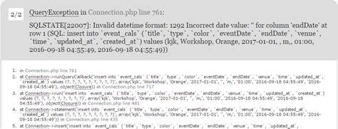 date format mysql laravel laravel 5 mysql error in xp stack overflow