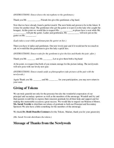 Wedding Ceremony Emcee Script by Wedding Ceremony Script Search Unionification