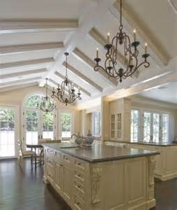 kitchen with vaulted ceilings ideas vaulted ceiling with box beams kitchen ideas