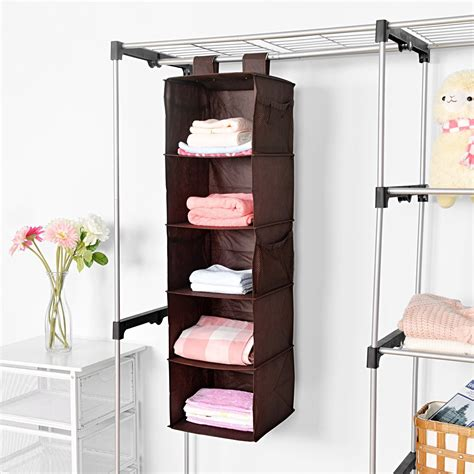 shelves for clothes 5 shelf hanging closet organizer maidmax brown hanging