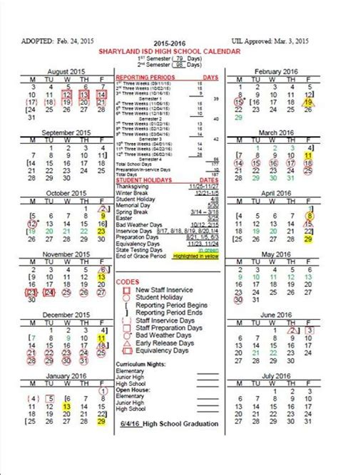 High School Calendar 2015 16 Sharyland Isd High School Calendar Sharyland Pion