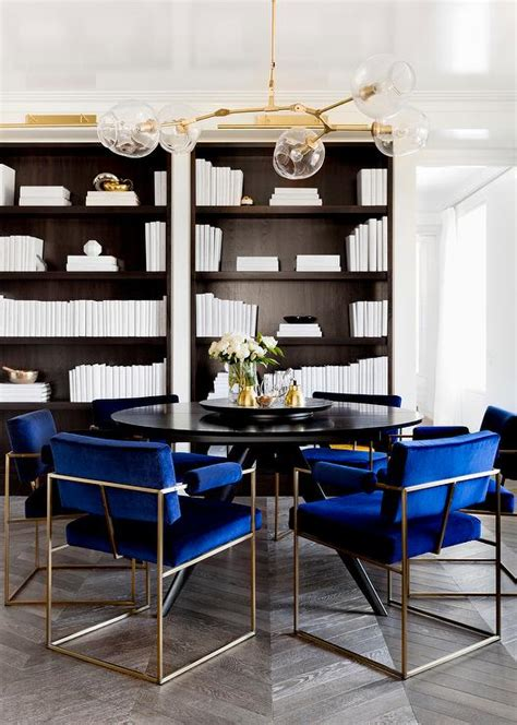 Blue Dining Table And Chairs Black Dining Table With Royal Blue Velvet Dining Chairs Contemporary Den Library Office
