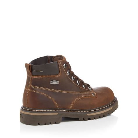skechers brown leather bully ii lace up boots from