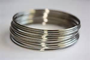 colored flatware metal bangles set silver color