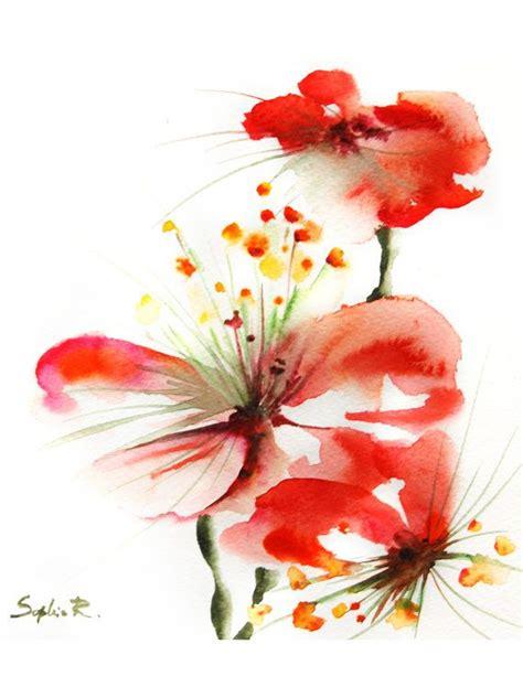 red flowers watercolor painting art print red flowers modern art wall art etsymntt