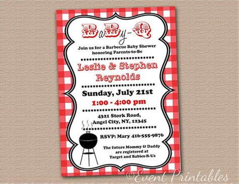 Free Baby Q Invitations Templates by Printable Baby Q Invitation Diy Gingham Baby Shower