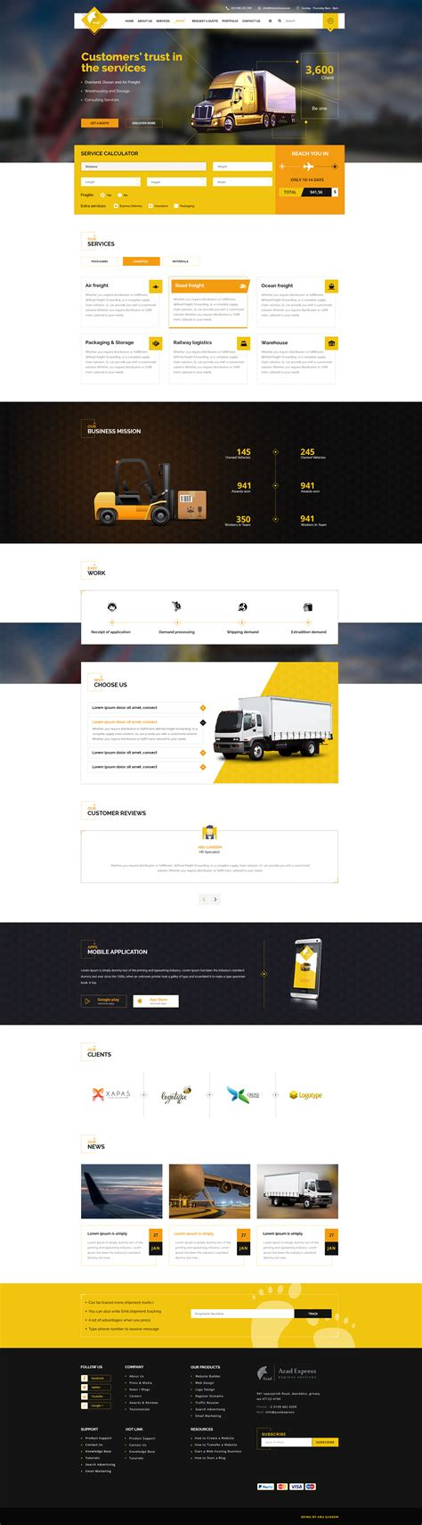 Express Logistics Transport Logistics Html Template azad trucking and express logistics services psd template