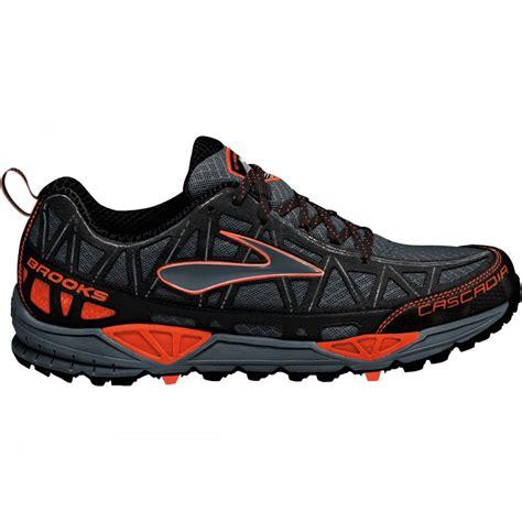black trail running shoes cascadia 8 trail running shoes iron black shockingorange