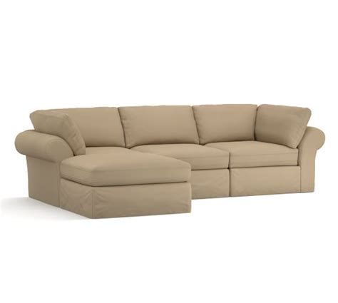 slipcovered sofa with chaise pb air slipcovered 4 piece sofa with chaise sectional