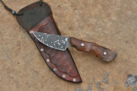 custom neck knives custom neck knife ironwood burl