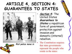 Us Constitution Article 4 Section 4 by Our Living Constitution Ppt