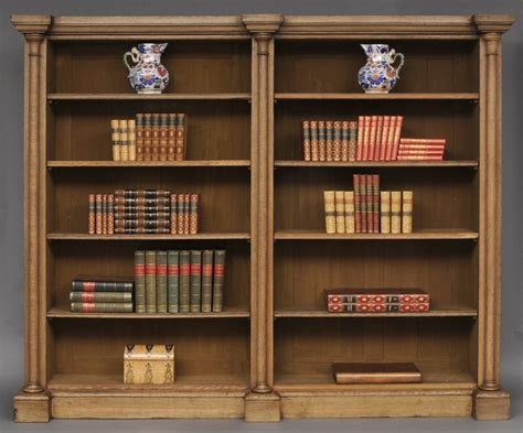 silver bookshelves antique bleached oak library breakfronted open
