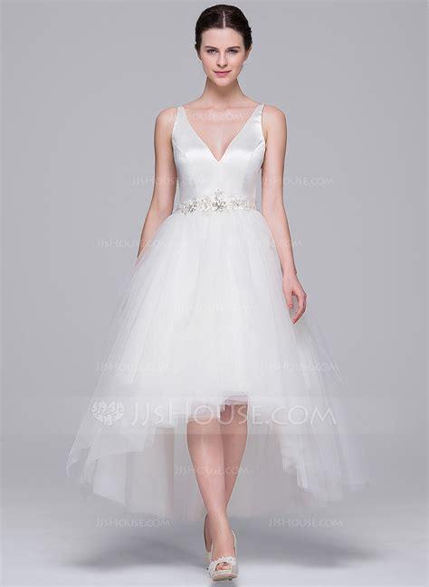 V Neck Sequins Set Topskorts White Pink Size Ml A Line Princess V Neck Asymmetrical Satin Tulle Wedding