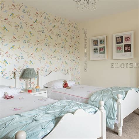 duck egg blue girls bedroom girls twin bedroom with bird wallpaper children s room