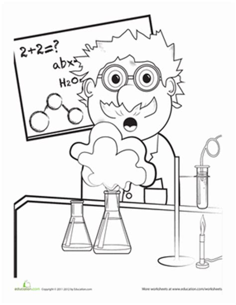coloring book for scientists mad scientist worksheet education