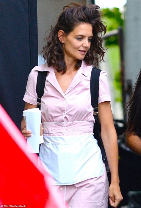actress that are 36 years old katie holmes sports a short pink waitress uniform as she