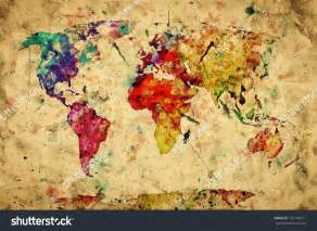 vintage world map colorful paint watercolor retro style expression on grunge old paper high