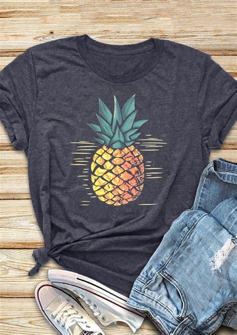 Sleeve Pineapple T Shirt pineapple o neck sleeve t shirt fairyseason