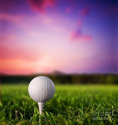 Duvet Green Golf Ball On Tee At Sunset Photograph By Michal Bednarek