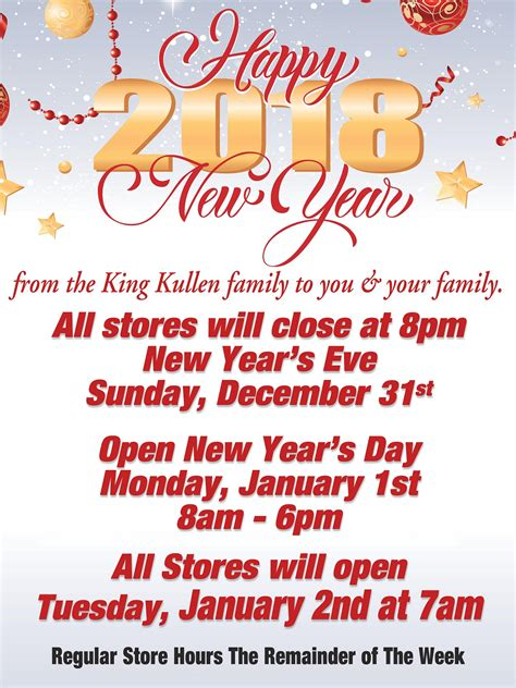 open on new year s day new year s store hours king kullen