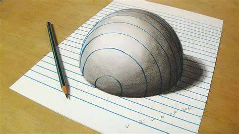 How To Make A Paper Illusion - trick on lined paper drawing half sphere optical