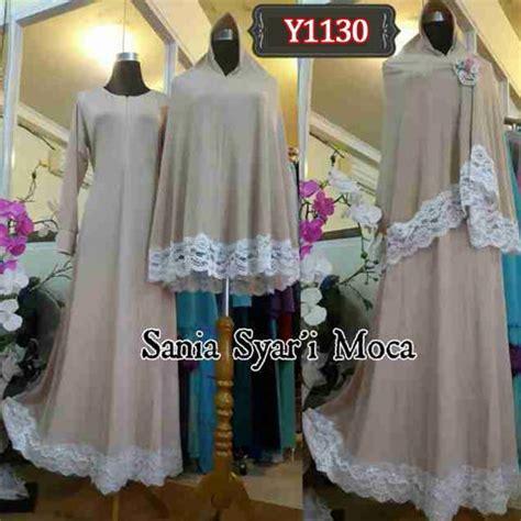 Deltarn Anggun Syari Coksu Gamis Busui Syari Warna Putih Busana Musli gamis bergo renda brukat y1130 baju muslim syar i cantik