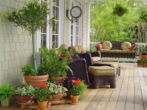 front porch landscaping hanging baskets and potted