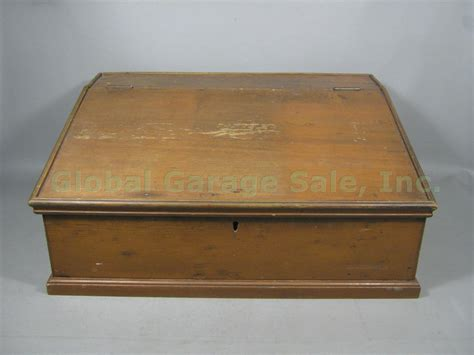 Antique Portable Writing Desk by Vtg Antique Portable Pine Wood Wooden Slope Top Document