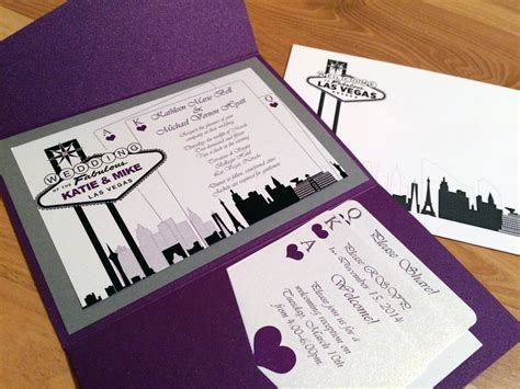 las vegas themed wedding invitation custom colors
