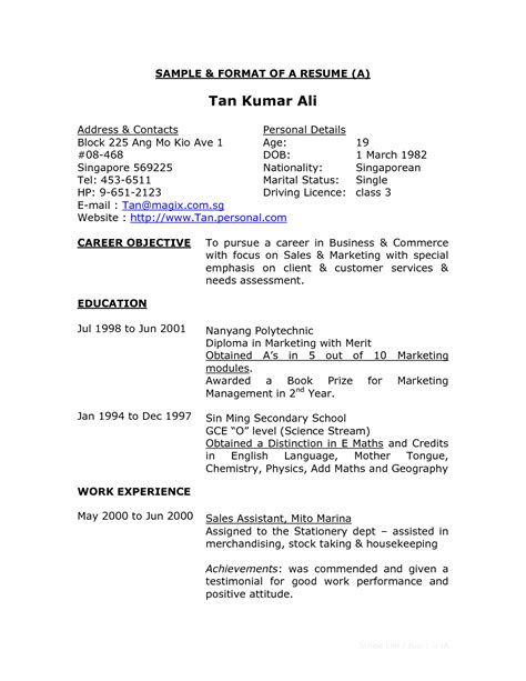resume sle and format resume format exles pdf writing resume sle