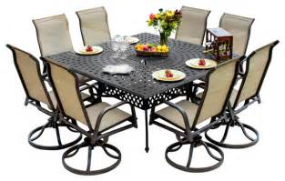 bay 8 person sling patio dining set with cast