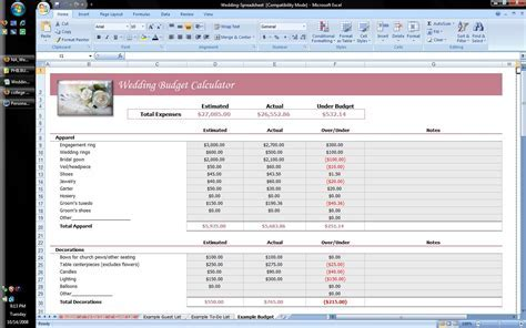Wedding Planner Excel Spreadsheet   Software   Business