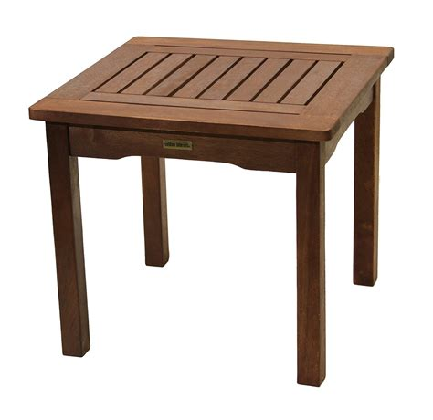 All Weather End Table Eucalyptus Easy Assembly Garden Outdoor Patio Tables