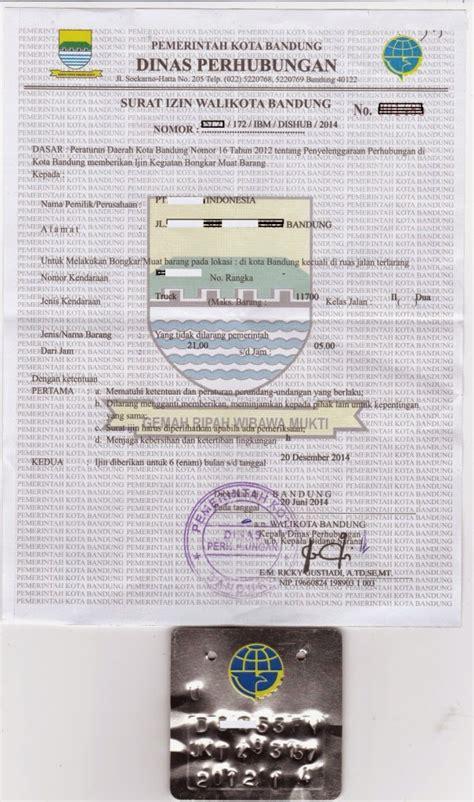 surat ijin bongkar muat untuk kendaraan penumpang barang