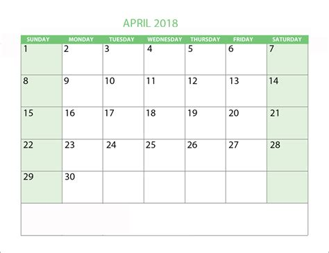 April 2018 Calendar With Holidays Printable Printable Templates Letter Calendar Word Excel Excel Calendar Template 2018 With Holidays