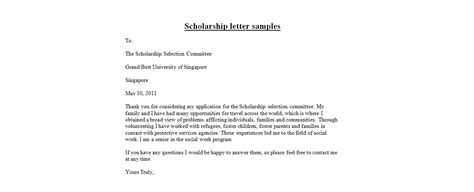 Business Letter Format Singapore scholarship letter sles business letter exles