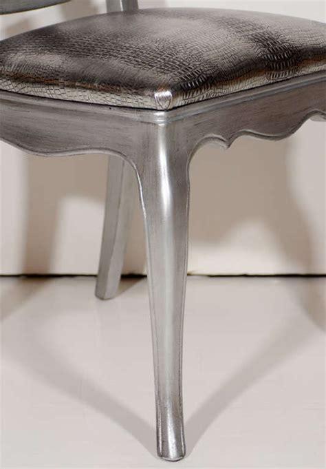 silver leaf vanity chair antique silver leaf and embossed metallic croc vanity or