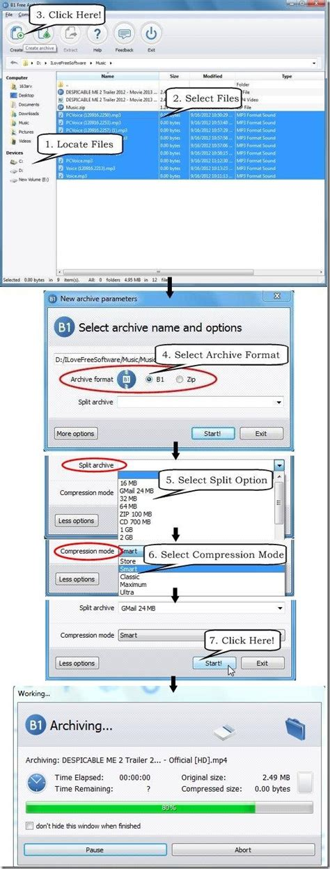 format file b1 create archive folder and extract archive file b1 free