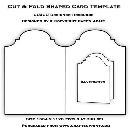 card template 4 cuts placement cut fold shaped card template card templates template
