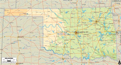 road map of oklahoma and texas physical map of oklahoma ezilon maps