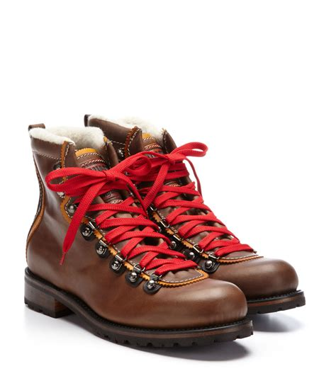 boots with laces shearling lined laces hiking boots from dsquared2