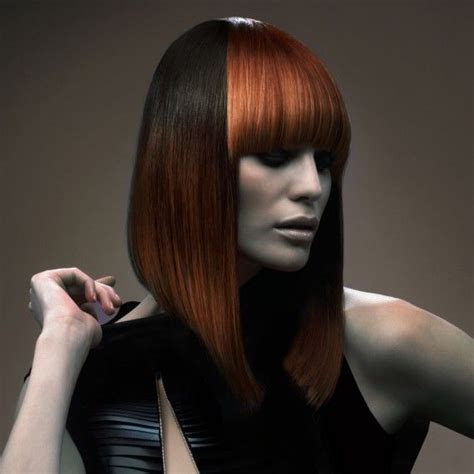 graduated bob with fringe hairstyles copper colour block long bob with fringe fun for short
