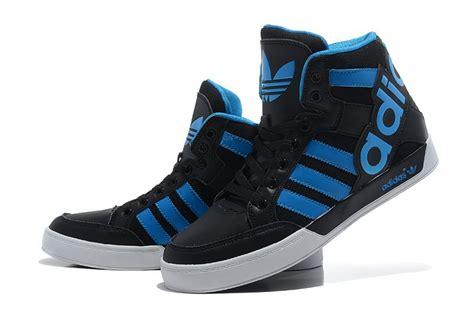 Adidas Original Shoes Mens High Tops by Adidas Originals High Tops Big Tongue Shoes Black Blue Shoes Adidas Black Shoes Shoes